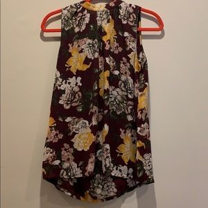 Loft size S burgundy & yellow floral top